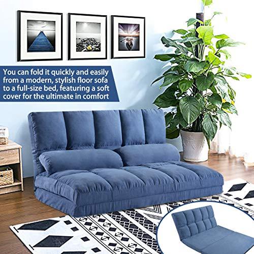 merax folding beds Merax Floor Sofa Bed, Foldable Sleeper Sofa Bed, Adjustable Futon Sofa Folding Lazy Sofa Floor Sofa Couch with 2 Pillows (Blue)