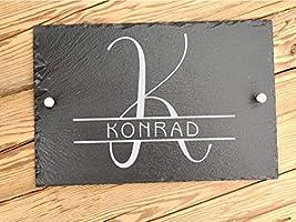 Haus-Türschild personalisiert aus Schiefer 30 x 20 cm mit Familiennamen | Hausschilder aus Schiefer mit...