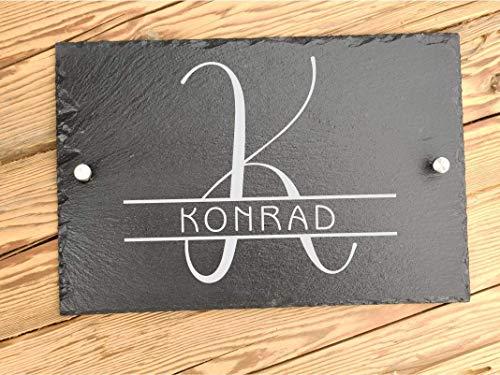 Haus-Türschild personalisiert aus Schiefer 30 x 20 cm mit Familiennamen | Hausschilder aus Schiefer mit Befestigungsmaterial | Hausnummer mit Initialien | Türschild mit Namen