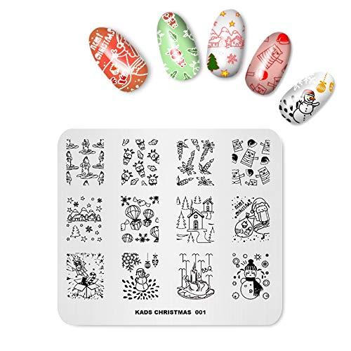 Alexnailart Nail Art Stamping Plate plantilla tema de Navidad de dibujos animados muñeco de nieve patrón Santa imagen de bricolaje placas de estampado manicura herramienta de impresión