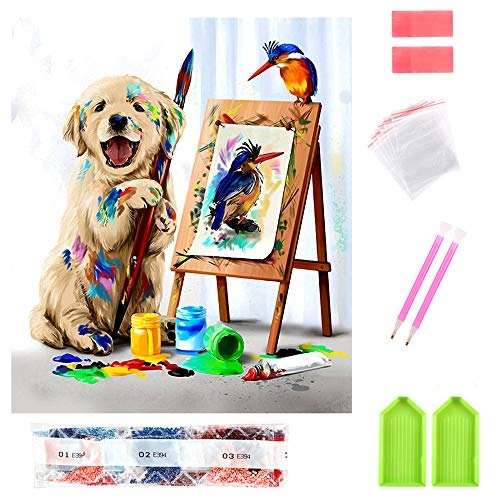 Updated 2020 Version 5D Diamond Painting Kits15.74x11.81inch for Adults Kids Full Drill Diamond Embroidery Gem Art Craft for Home Wall Decor(Dog)