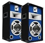 2x400W Party PA Lautsprecher Paar Disco Boxen 25cm BASS Blue-LED E-Lektron SPL25