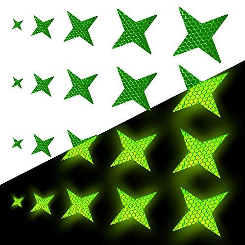 Tuqiang Vierzackige Sternform Reflektierendes Klebeband Wasserdicht Selbstklebend Für Kleidung Rucksack und Gehweg Hohe Sichtbarkeit Band Sicherheit im Freien Reflektierend Aufkleber 25 Stück Grün
