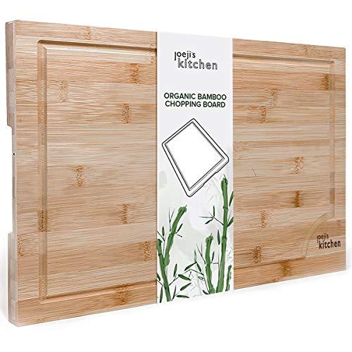 joeji's Kitchen Tagliere in bambù Biologico Premium | Tagliere Legno Molto Resistente | Tagliere da Cucina Tagliere Cucina Grande 44,5 cm x 30 cm x 1,5 cm