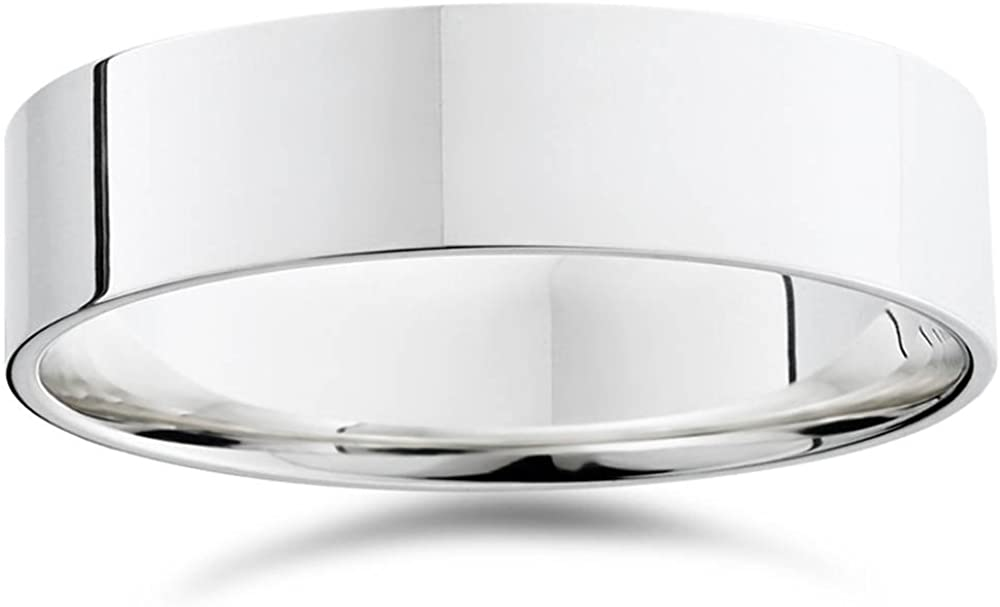 Mens 6mm Flat 950 Platinum Comfort Wedding Band Ring