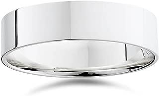 Mens 6mm Flat 950 Palladium Comfort Wedding Band Ring