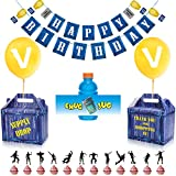 Birthday Party Supplies Set for Game Themed(98 PCS)-Including 24 Chug Jug Bottle Labels,24 Game Party Drop Box,24 Cupcake Toppers(12 Styles),1 Birthday Party Banner,24 Balloons,1 Ribbon