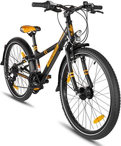 """Prometheus Bicicleta Infantil 24 Pulgadas   niño   niña   Bici de Aluminio   Negro Naranja Mate   a Partir de 8 años con 21 Marchas - 24"""" BMX Modelo 2019"""