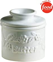 Butter Bell - The Original Butter Bell Crock by L. Tremain, French Ceramic Butter Dish, Classic, White Raised Floral