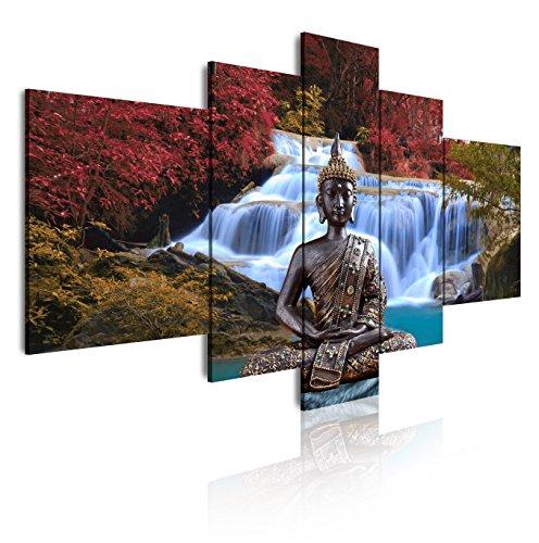 DekoArte Cuadros Modernos Impresión de Imagen Artística Digitalizada, Lienzo Decorativo para Tu Salón o Dormitorio, Estilo Buda Zen Paisaje Relajación Naturaleza XXL, Azules, 5 Piezas (180x85x3cm)
