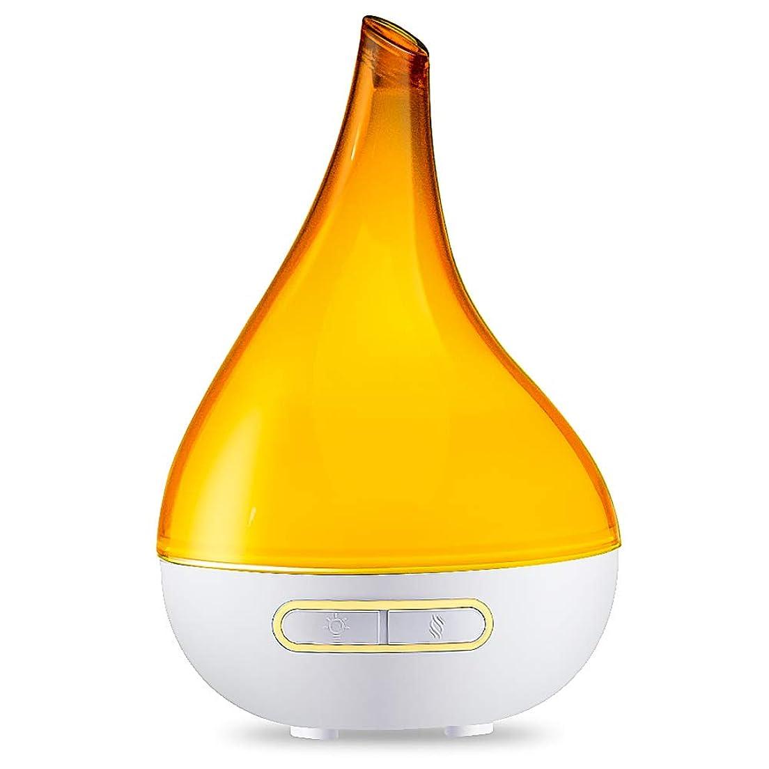 苦い過度に広がり超音波 エッセンシャル オイル ディフューザー 電気 涼しい霧の加湿器 調節可能なミスト付け アロマディフューザー 夜間照明付き 赤ちゃんの家-オレンジ 15x23.7cm