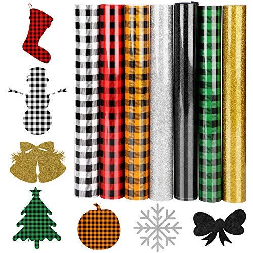 PLAZALA Christmas Buffalo Plaid Heat Transfer Vinyl, 7 Pcs 12' x 10' HTV Iron on Vinyl for DIY on Fabrics T-Shirt