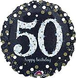 Amscan 3213101 - Standard Folienballon Happy Birthday 50, Durchmesser circa 43 cm, Heliumballon, Geburtstag