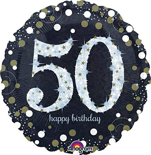 Glittery Black and Gold 50th Birthday Foil Balloon, Air or Helium Filled