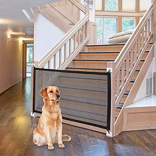 Hundebarrieren Tragbar Zaun für Hunde, 110*72cm Treppenschutzgitter Türgitter Absperrgitter Ausziehbar Kein Bohren Erforderlich Leicht zu Tragen Safety Gate Treppe, für Schlafzimmer Küche und Draußen