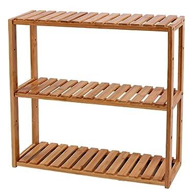 SONGMICS Adjustable Slim Shelf Rack Multifunctional Bathroom Kitchen Living Room Holder 3-Tier Utility Storage Shelf Bamboo UBCB13Y