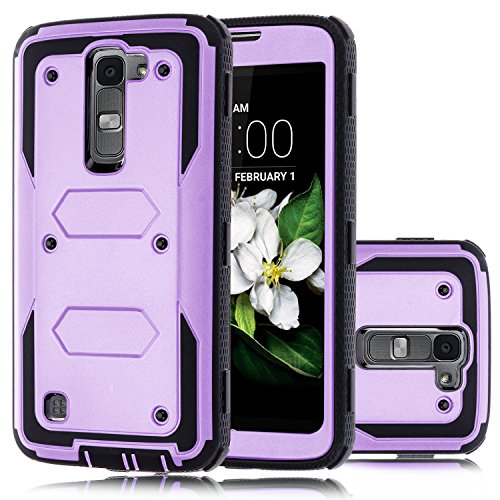 LG K8 Case, LG Escape 3 Case, LG Phoenix 2 Case, Venoro 2in1 High Impact Resistant Hybrid Dual Layer Hard Rugged Full-Body Slim Shockproof Phone Case Cover Shell (No Clip - Purple)