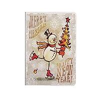 クリスマス PUレザー 第4世代 iPad 10.9ケース ブック型 クリスマスツリーと幸せな雪だるまをスケート陽気な手描画華やかな雪片装飾 スタンド機能 オートスリープ機能付き ース 多色