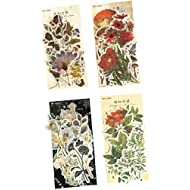 Vintage Washi Sticker Set (4 Pack, 240 Pieces) Retro Floral Green Plant Fruit Mushroom Flower DIY Decorative Label for Scrapbooking Cup Cellphone Gift Wrapping Letter Card Art Project Craft