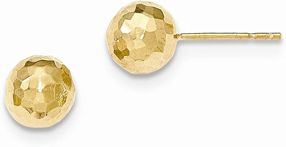 14K Yellow Gold Polished and Diamond Cut 8MM Ball Post Earrings