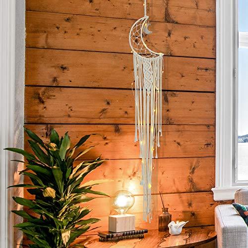Mangsen Atrapasueños de luna hecho a mano de macramé tejido de algodón con luz LED móvil para colgar en la pared, adorno bohemio para boda, sala de estar o dormitorio