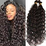 Deep Curly Human Hair Bulk Brazilian Virgin Human Braiding Hair Bulk No Weft Curly Human Hair Weaving 100g Per Bundle 1Piece/Package (22inch 1bundle, #1B(Natural Black))