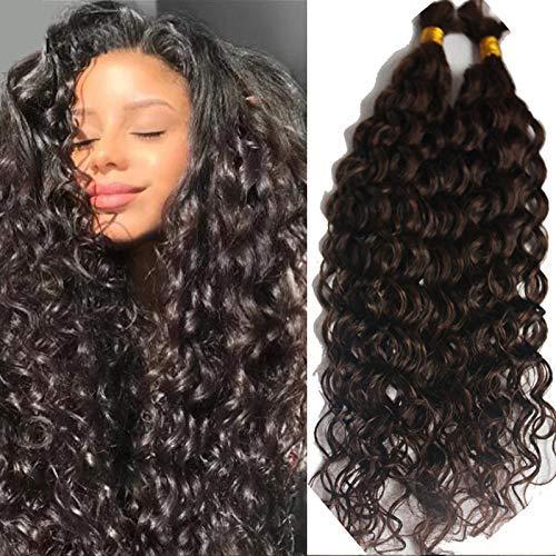 Deep Curly Human Hair Bulk Brazilian Virgin Human Braiding Hair Bulk No Weft Curly Human Hair Weaving 100g Per Bundle 1Piece/Package (24inch 1bundle, #1(Jet Black))