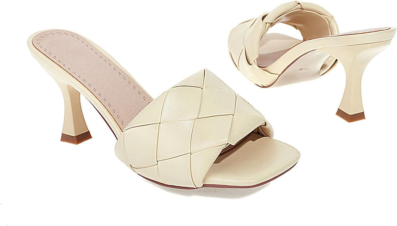 Women's Heeled Sandals Square Toe Braid Band Slides Sandal Kitten High Heels Comfort Slip On Party Dress Slippers