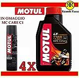 Motul 7100 15w50 olio motore moto 4 tempi litri 4 + OMAGGIO MC Care C1 Chain Clean