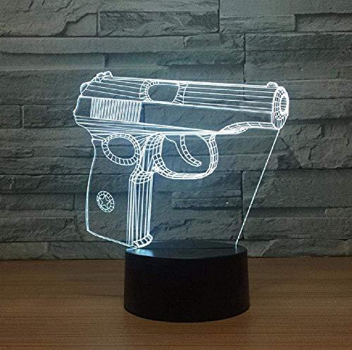 3D noche luz para con lámpara de decoración con pistola 3D noche luz táctil armario lámpara USB regalo USB LED niños lámpara 3D accesorios de luz regalo cumpleaños para niños