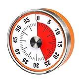 Reloj de cuenta regresiva de 7,8 cm, analógico, con temporizador, 60 minutos, para cocina, profesor, aula, reuniones, niños, adultos (color naranja)