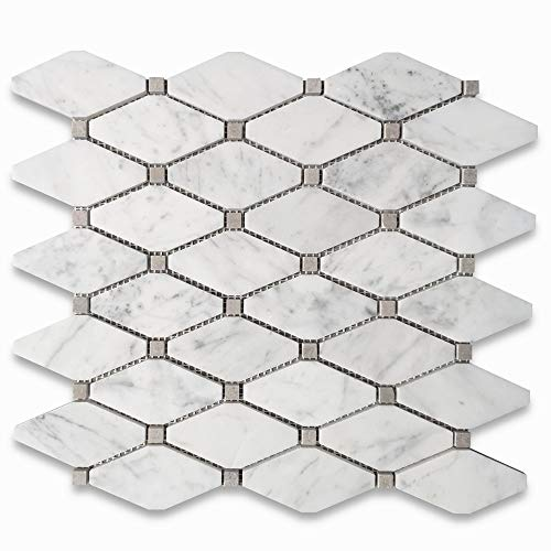Stone Center Online Carrara White Italian Carrera Marble Long Octave Rhomboid Mosaic Tile w/Gray Dots Polished Venato Bianco Kitchen Backsplash Bathroom Floor Tile