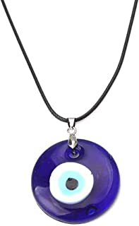 Pingyongchang Antique Deep Sea Blue Evil Eye Pendant Necklace Turkish Blue Eye Necklace Glass Eye Leather Rope Chain