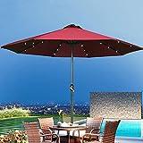 Gogh Parasol de jardín con Luces LED solares, Gran Patio Parasol Paraguas Impermeable Sol toldo, jardín Patio Trasero Muebles decoración decoración (sin Base)