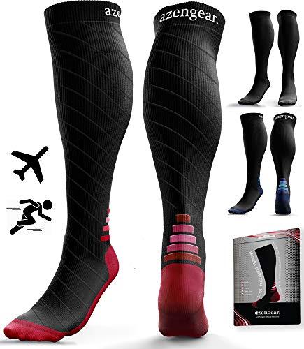 Calcetines de Compresión para Hombres y Mujeres - Medias de Compresion para Deporte - Maratones - Enfermeras - Estrés tibial Interior - Durante Embarazo (L/XL (42-47), Negro/Rojo)