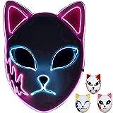 Demon Slayer - Máscara de zorro LED, diseño de animales japoneses y soldados de demonio con luz LED, para cosplay, color rosa