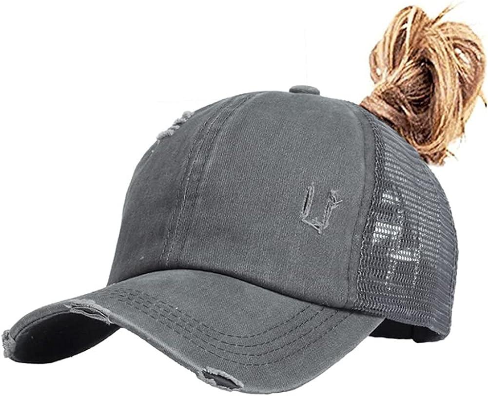 Nogewul High Ponytail Baseball Cap for Womens Men Adjustable Dad Trucker Mesh Hat