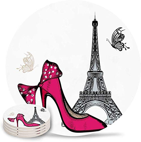 Coasters for Drinks Set of 4- Happy Valentine's Day Romantic Red High Heels Eiffel Tower Butterfly Absorbent Ceramic Coaster with Cork Back for Bar Office Coffee, Housewarming Gifts