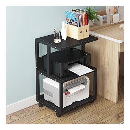 Printer Desktop Stand 3 Shelf Mobile Printer Stand Paper Organizer 3D Printer Media Cart with 4 Swivel Wheels Office Printer Stand (Color : Black-a)