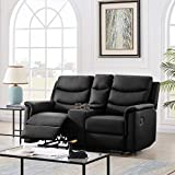 DNIEBW Recliner Loveseat Leather Recliner Set Reclining Sofa with Cup Holder 2 Seater Motion Sofa Recliner Couch with Console, 67.7 x 37.8 x 39.3 Inch