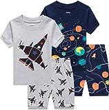 shelry Pajamas for Boys Summer Children Airplane Rocket Clothes Kids Short Set 4 Pieces Sleepwear 6t
