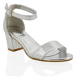ESSEX GLAM Sandalo Donna Sintetico Tacco Medio-Basso con Cinturino alla Caviglia