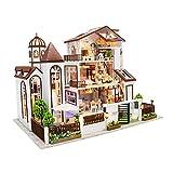 Yclty DIY Maison Miniature Kit, Maquette Maison Bois à Construire pour Adultes Poupée en Bois 3D avec Lumière LED Meubles