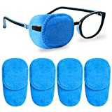 4 Pack Eye Patches for Kids Girls Boys, Right & Left Eye Patch for Glasses, Lazy Eye Patch for Children Treating Lazy Eye Amblyopia Strabismus and After Surgery (Blue)
