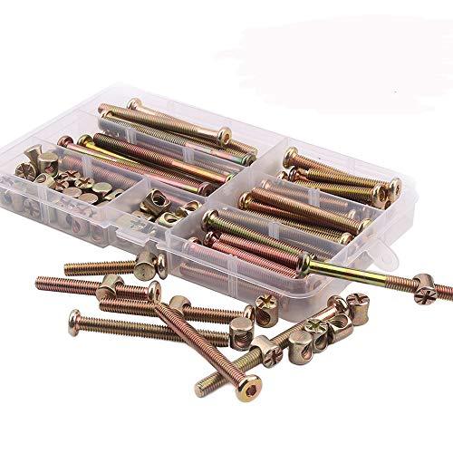 Tuercas y abrazaderas de rosca de seguridad hexagonales M6 chapadas en zinc, para muebles, cunas, camas y sillas; 100 unidades x 40/50/60/70/80 mm