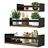 Giftgarden Black Floating Shelves for Wall Set of 3, Industrial Thick Wall Shelves with Iron Rails Brackets for Bathroom Storage Kitchen Spice Rack Bedroom Living Room Plant Nursery Books Laundry