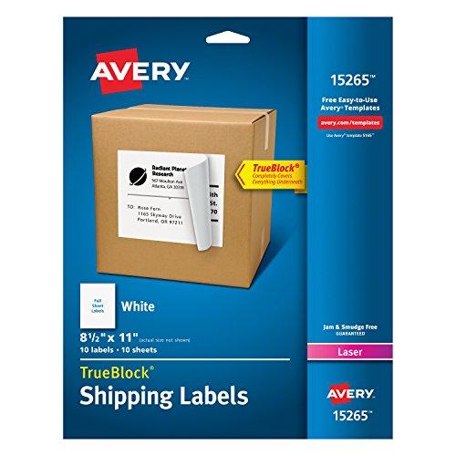 Avery Etiquetas de endereço de entrega, impressoras a laser e jato de tinta, 10 etiquetas, etiquetas de folha completa, adesivo permanente, TrueBlock (15265), branco, tamanho: 21,5 x 28 cm