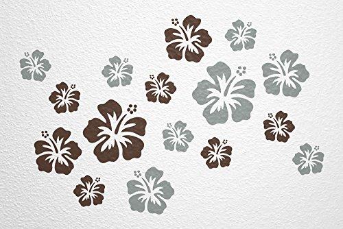 WANDfee® Wandtattoo 16 Hibiskus Blüten AC0610620 Größe Ø 7-15 cm, 2 x Ø 15 cm, 4 x Ø 11 cm, 10 x Ø 7 cm Farbe dunkelbraun grau
