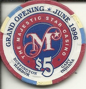 $5 majestic star grand opening 1996 casino chip gary indiana obsolete vintage
