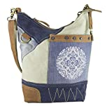 Sunsa Damen Tasche Umhängetasche Handtasche klein Canvas bag mit Jeans und Leder Vintage Design Teenager Taschen praktische Geschenke Bags for Women Schultertasche Damentaschen sale